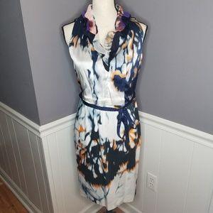 Elie Tahari   Ruffle Silk Top Tie Dye Dress